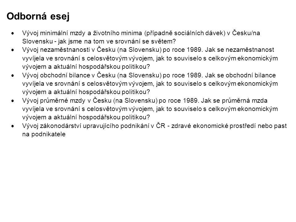 Odborná esej  Vývoj minimální mzdy a životního minima (případně sociálních dávek) v Česku/na Slovensku - jak jsme na tom ve srovnání se světem?  Výv