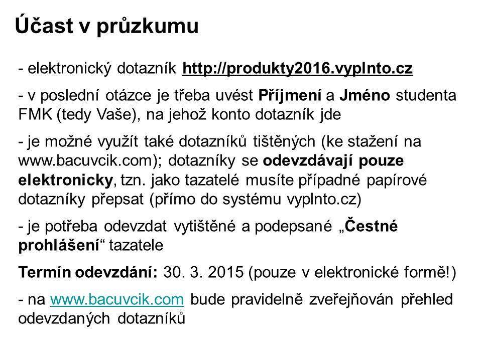- elektronický dotazník http://produkty2016.vyplnto.cz - v poslední otázce je třeba uvést Příjmení a Jméno studenta FMK (tedy Vaše), na jehož konto do