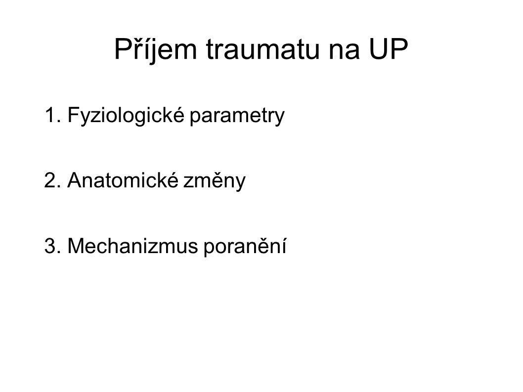 Fyziologické parametry GCS < 12 TF 130/min.TK syst.