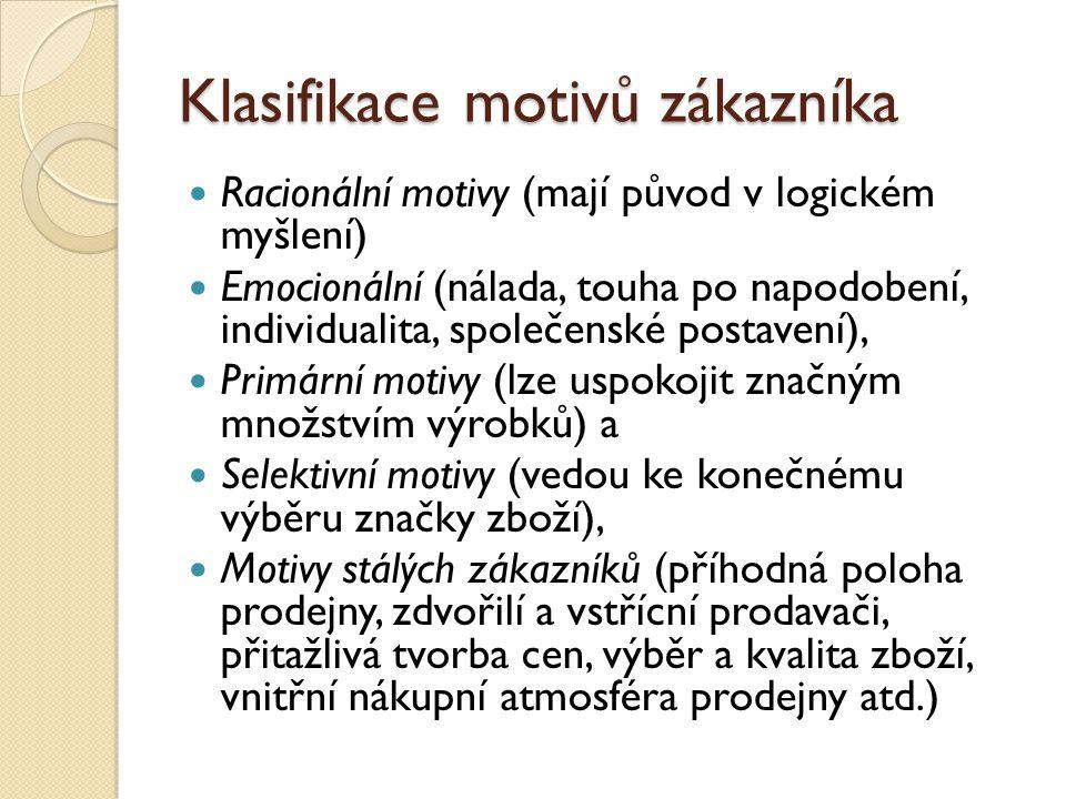 Klasifikace motivů zákazníka Racionální motivy (mají původ v logickém myšlení) Emocionální (nálada, touha po napodobení, individualita, společenské po