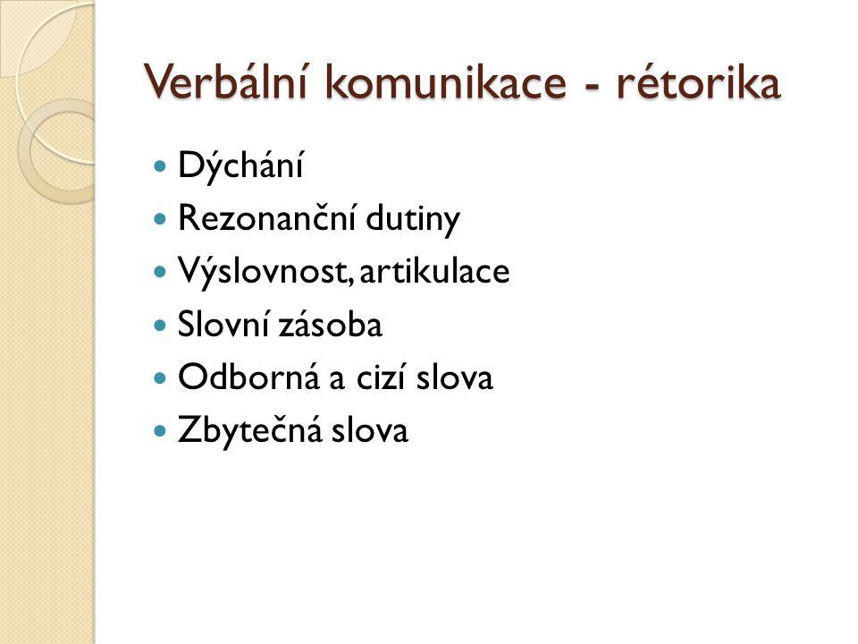 Verbální komunikace - rétorika Dýchání Rezonanční dutiny Výslovnost, artikulace Slovní zásoba Odborná a cizí slova Zbytečná slova
