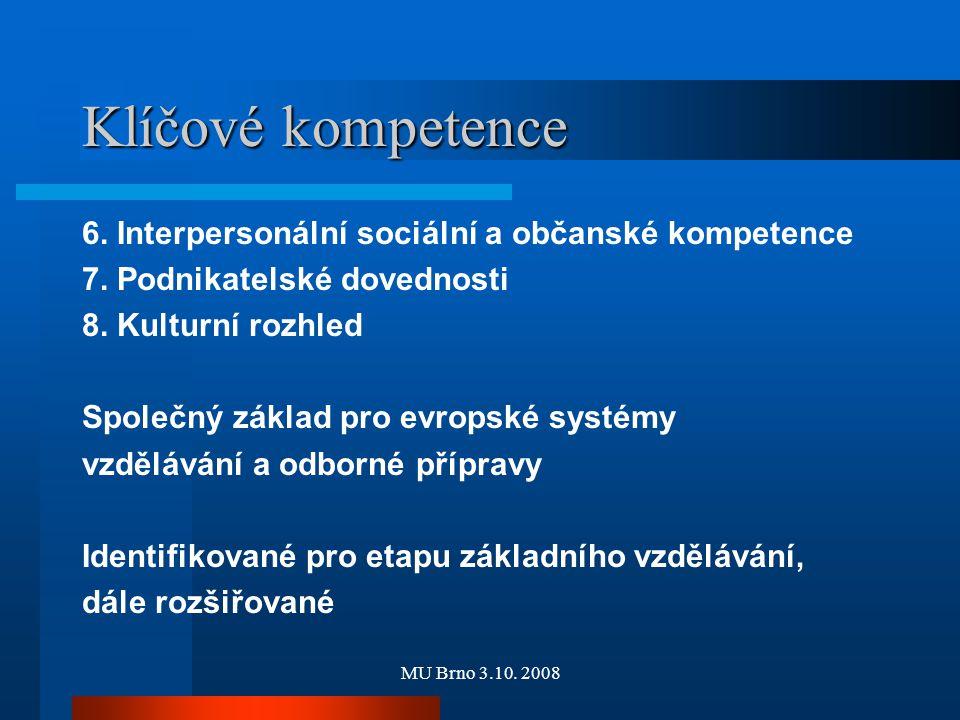 MU Brno 3.10. 2008 Klíčové kompetence 6. Interpersonální sociální a občanské kompetence 7. Podnikatelské dovednosti 8. Kulturní rozhled Společný zákla