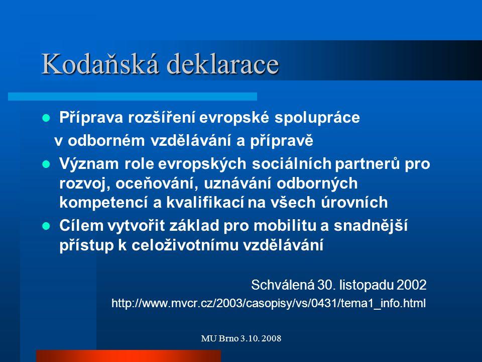 MU Brno 3.10. 2008 Kodaňská deklarace Příprava rozšíření evropské spolupráce v odborném vzdělávání a přípravě Význam role evropských sociálních partne