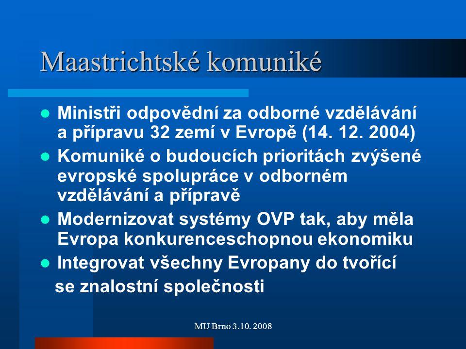 MU Brno 3.10. 2008 Maastrichtské komuniké Ministři odpovědní za odborné vzdělávání a přípravu 32 zemí v Evropě (14. 12. 2004) Komuniké o budoucích pri