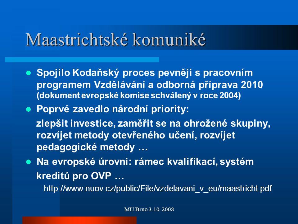 MU Brno 3.10. 2008 Maastrichtské komuniké Spojilo Kodaňský proces pevněji s pracovním programem Vzdělávání a odborná příprava 2010 (dokument evropské