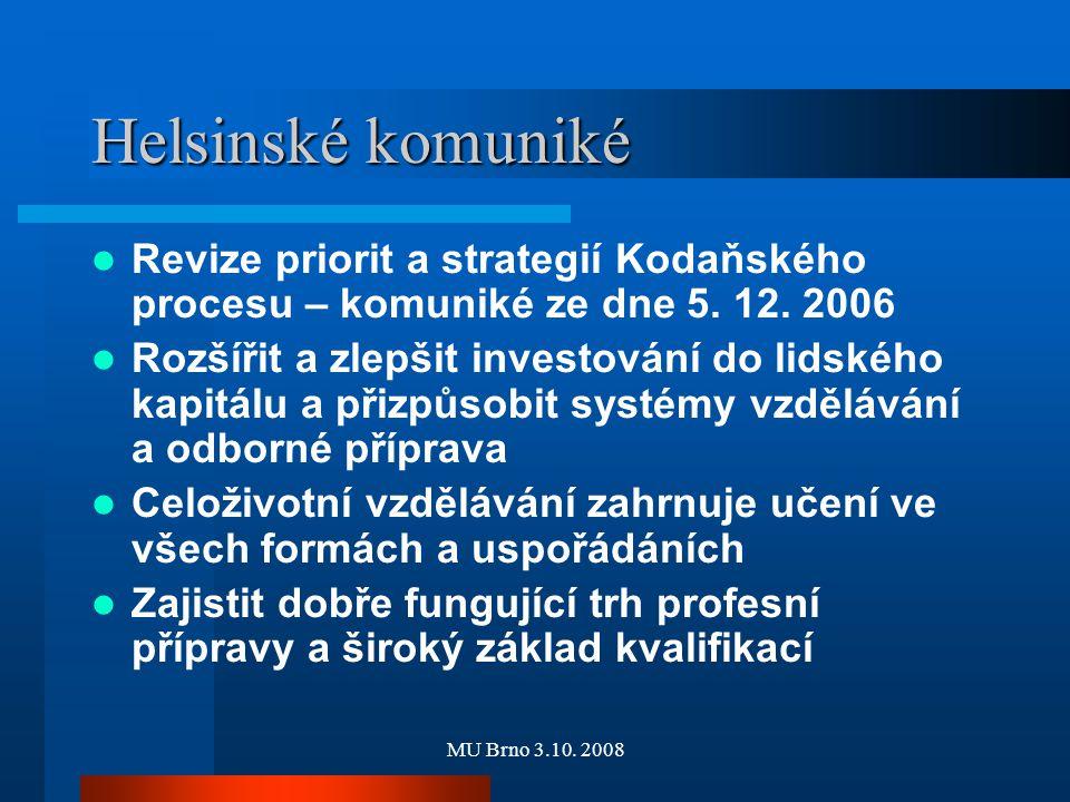 MU Brno 3.10. 2008 Helsinské komuniké Revize priorit a strategií Kodaňského procesu – komuniké ze dne 5. 12. 2006 Rozšířit a zlepšit investování do li