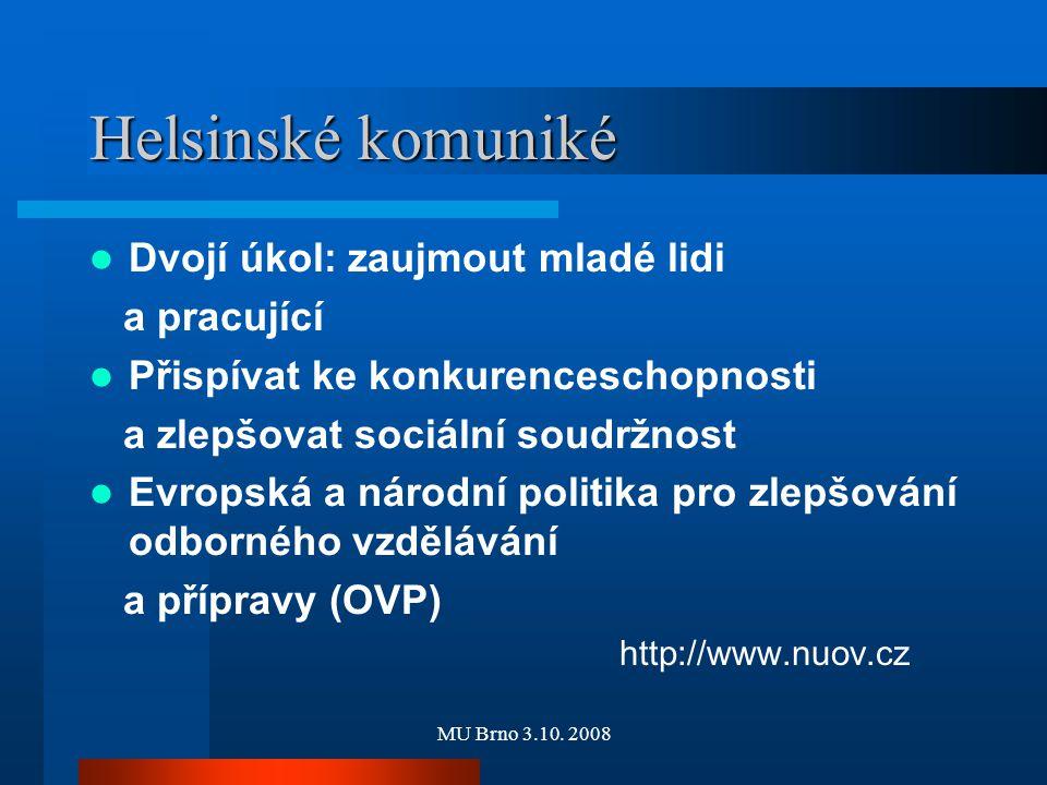 MU Brno 3.10. 2008 Helsinské komuniké Dvojí úkol: zaujmout mladé lidi a pracující Přispívat ke konkurenceschopnosti a zlepšovat sociální soudržnost Ev