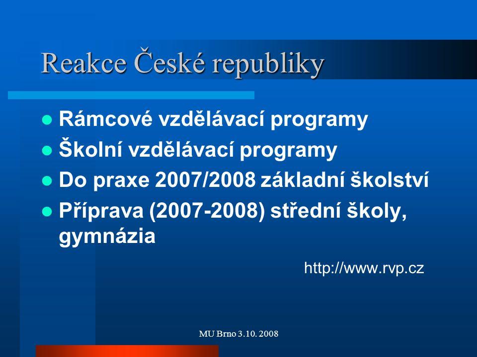 MU Brno 3.10. 2008 Reakce České republiky Rámcové vzdělávací programy Školní vzdělávací programy Do praxe 2007/2008 základní školství Příprava (2007-2