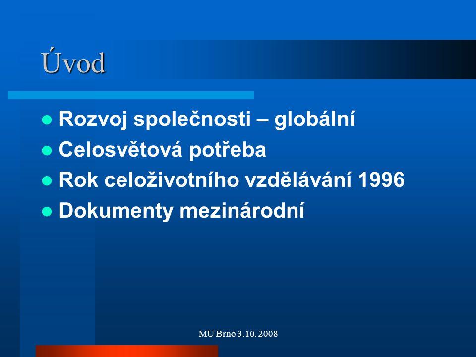MU Brno 3.10. 2008 Úvod Rozvoj společnosti – globální Celosvětová potřeba Rok celoživotního vzdělávání 1996 Dokumenty mezinárodní