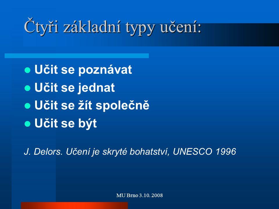 MU Brno 3.10. 2008 Čtyři základní typy učení: Učit se poznávat Učit se jednat Učit se žít společně Učit se být J. Delors. Učení je skryté bohatství, U