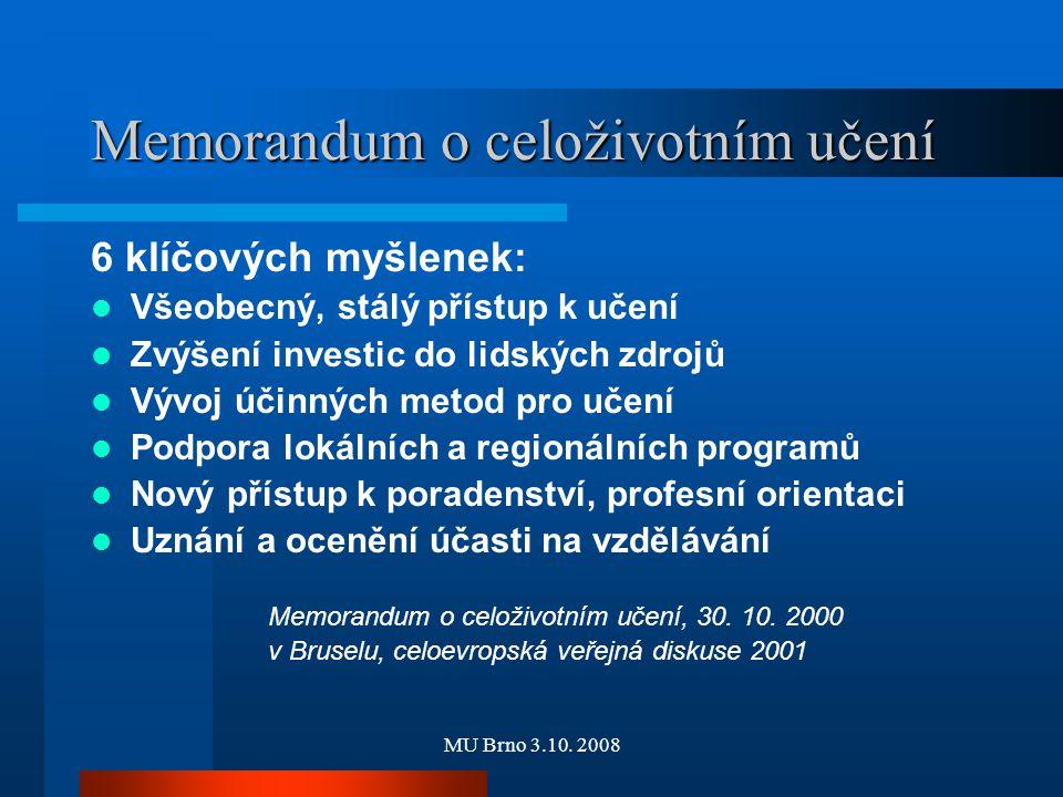 MU Brno 3.10. 2008 Memorandum o celoživotním učení 6 klíčových myšlenek: Všeobecný, stálý přístup k učení Zvýšení investic do lidských zdrojů Vývoj úč
