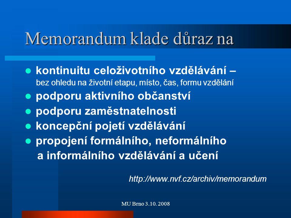 MU Brno 3.10. 2008 Memorandum klade důraz na kontinuitu celoživotního vzdělávání – bez ohledu na životní etapu, místo, čas, formu vzdělání podporu akt