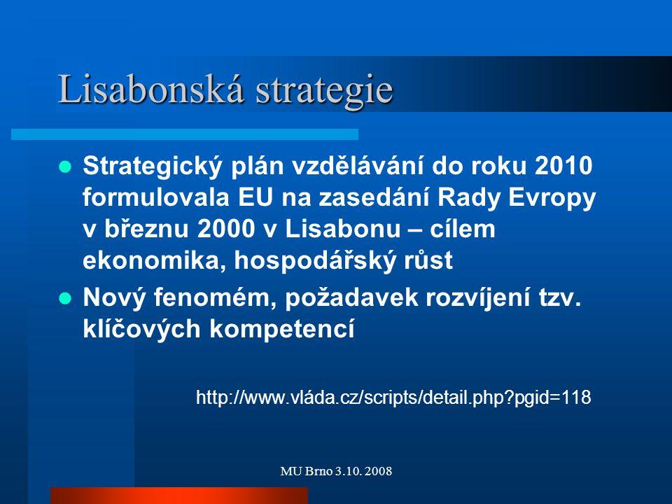 MU Brno 3.10. 2008 Lisabonská strategie Strategický plán vzdělávání do roku 2010 formulovala EU na zasedání Rady Evropy v březnu 2000 v Lisabonu – cíl