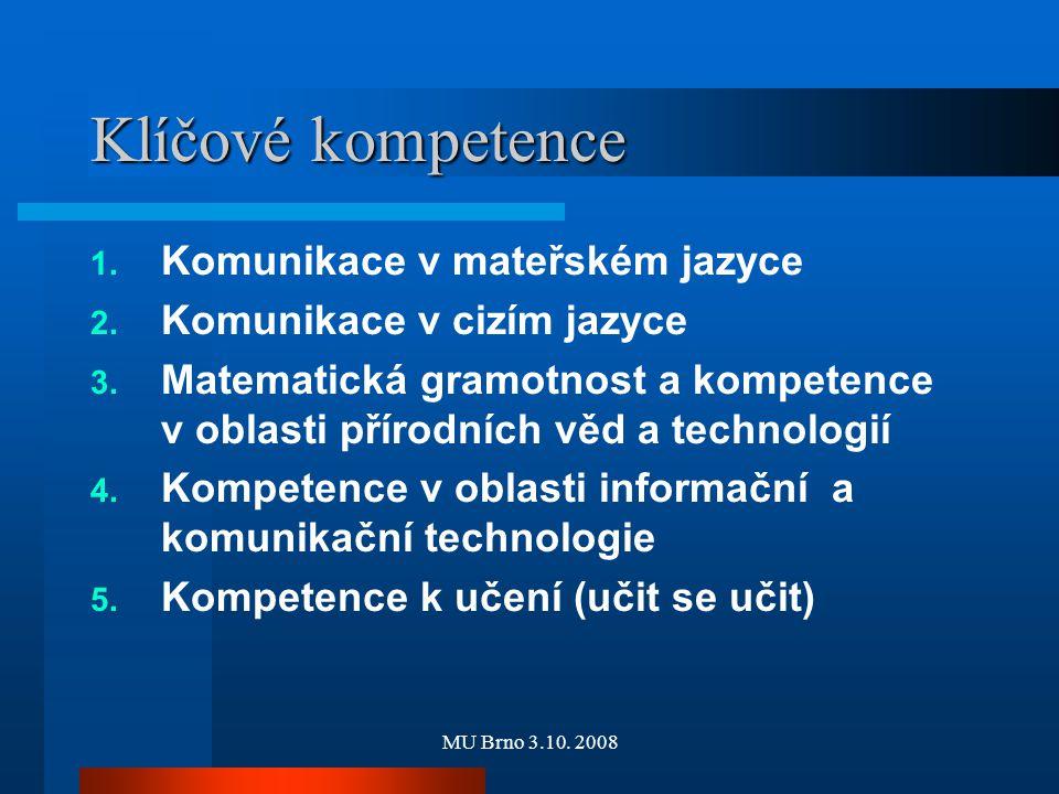 MU Brno 3.10. 2008 Klíčové kompetence 1. Komunikace v mateřském jazyce 2. Komunikace v cizím jazyce 3. Matematická gramotnost a kompetence v oblasti p