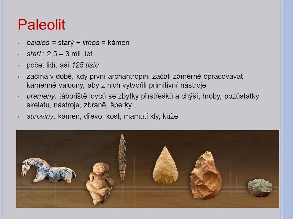 Paleolit palaios = starý + lithos = kámen stáří : 2,5 – 3 mil. let počet lidí: asi 125 tisíc začíná v době, kdy první archantropini začali záměrně opr