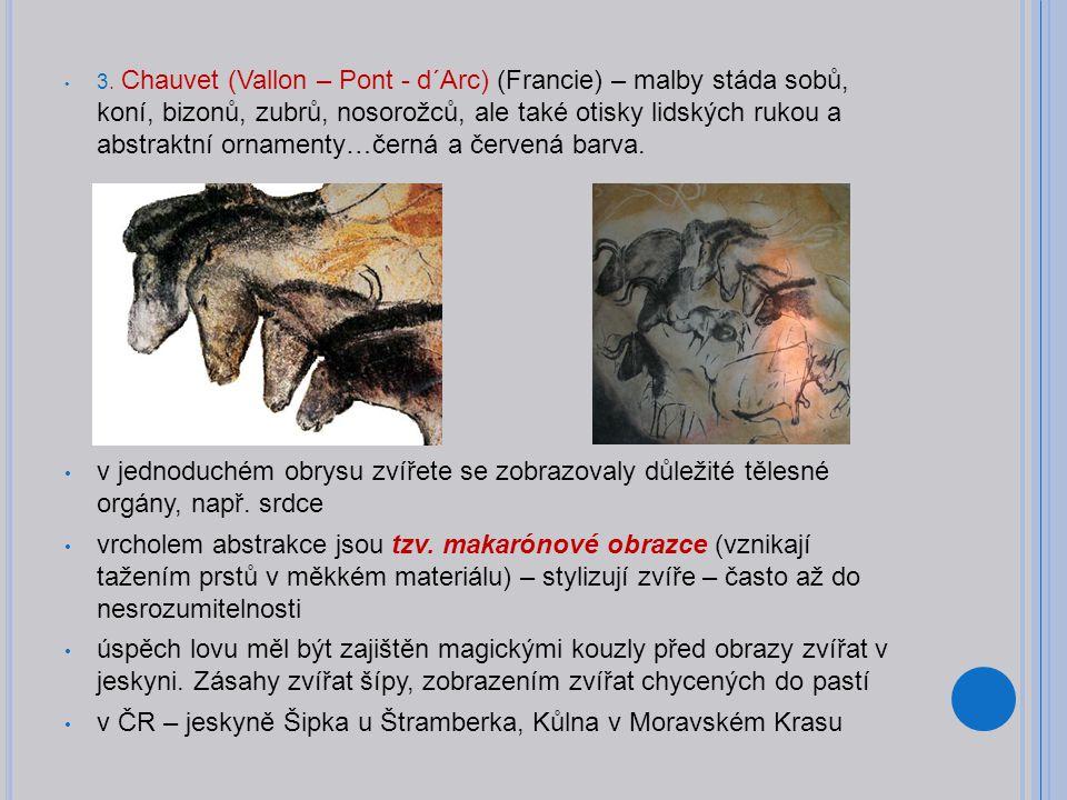 3. Chauvet (Vallon – Pont - d´Arc) (Francie) – malby stáda sobů, koní, bizonů, zubrů, nosorožců, ale také otisky lidských rukou a abstraktní ornamenty