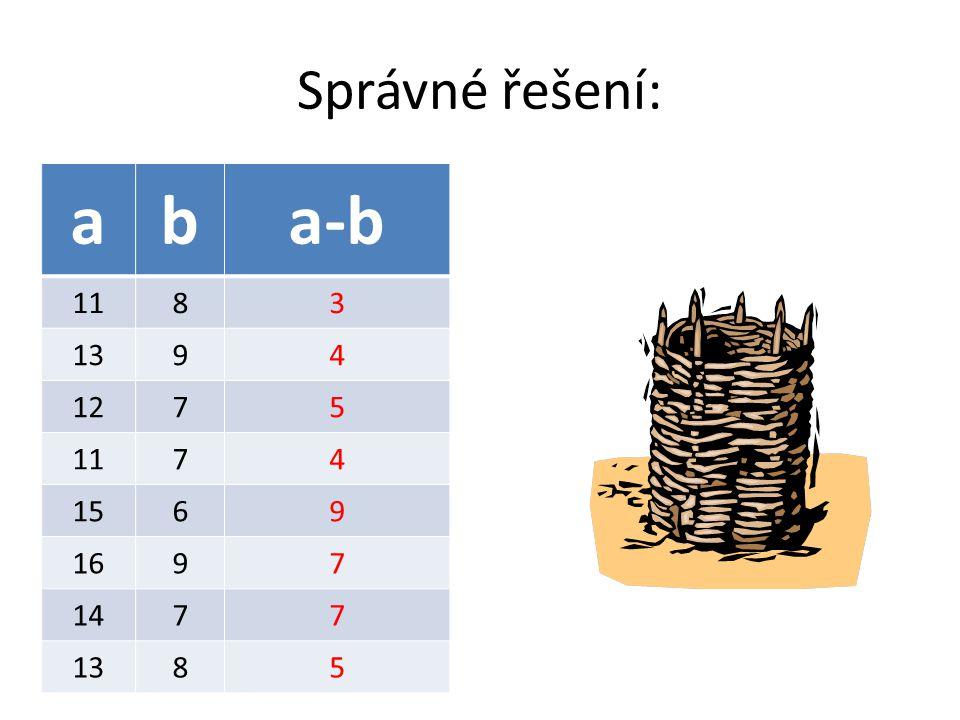 Správné řešení: aba-b 1183 1394 1275 1174 1569 1697 1477 1385
