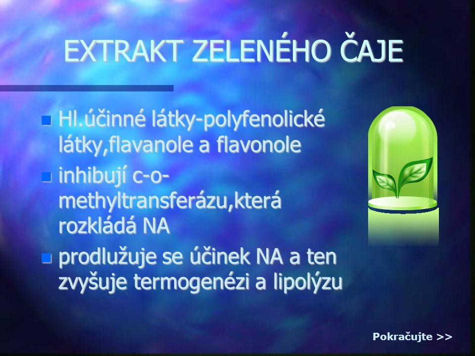 EXTRAKT ZELENÉHO ČAJE Hl.účinné látky-polyfenolické látky,flavanole a flavonole Hl.účinné látky-polyfenolické látky,flavanole a flavonole inhibují c-o- methyltransferázu,která rozkládá NA inhibují c-o- methyltransferázu,která rozkládá NA prodlužuje se účinek NA a ten zvyšuje termogenézi a lipolýzu prodlužuje se účinek NA a ten zvyšuje termogenézi a lipolýzu Pokračujte >>