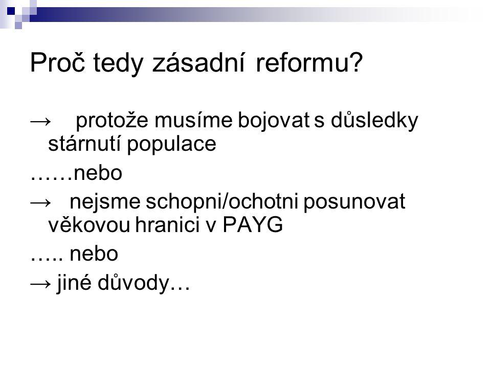 Proč tedy zásadní reformu.