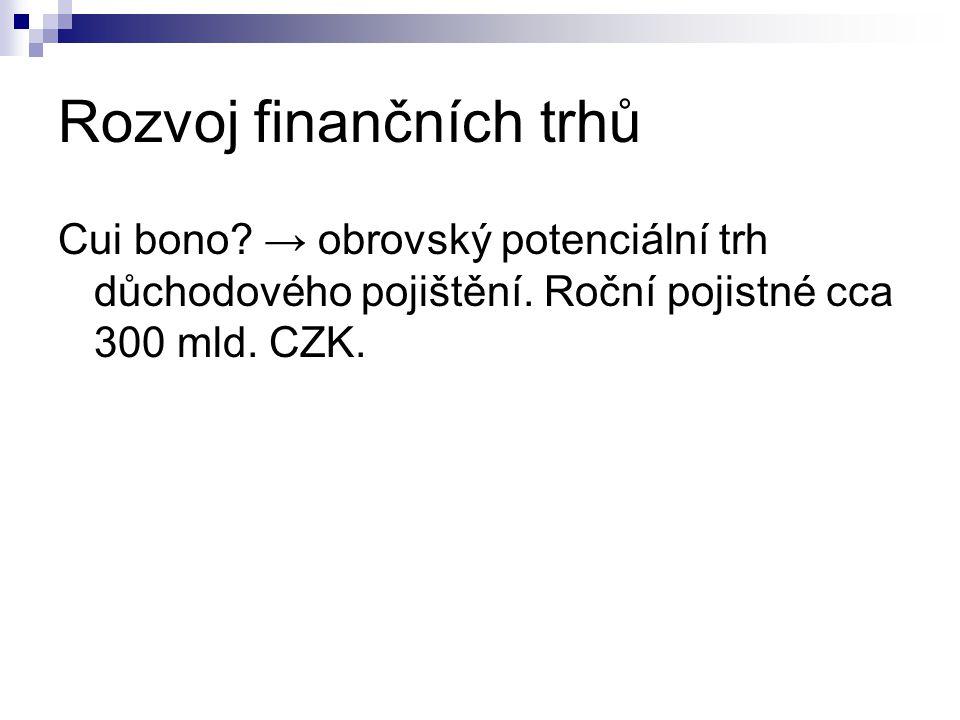 Rozvoj finančních trhů Cui bono. → obrovský potenciální trh důchodového pojištění.