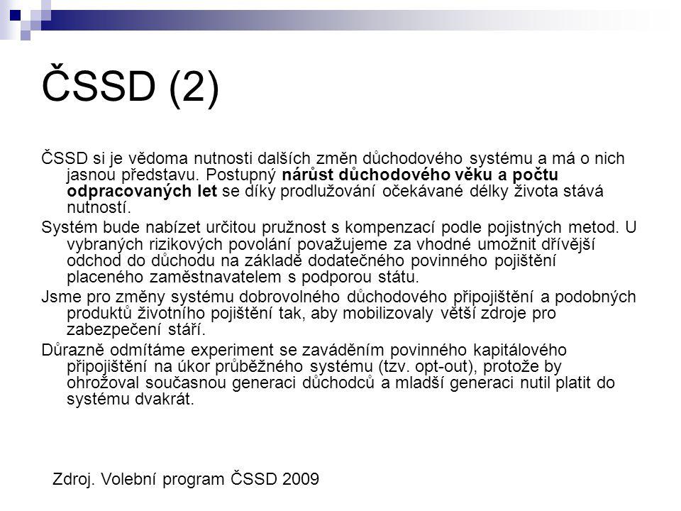 ČSSD (2) ČSSD si je vědoma nutnosti dalších změn důchodového systému a má o nich jasnou představu.
