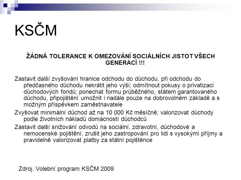 KSČM ŽÁDNÁ TOLERANCE K OMEZOVÁNÍ SOCIÁLNÍCH JISTOT VŠECH GENERACÍ !!.
