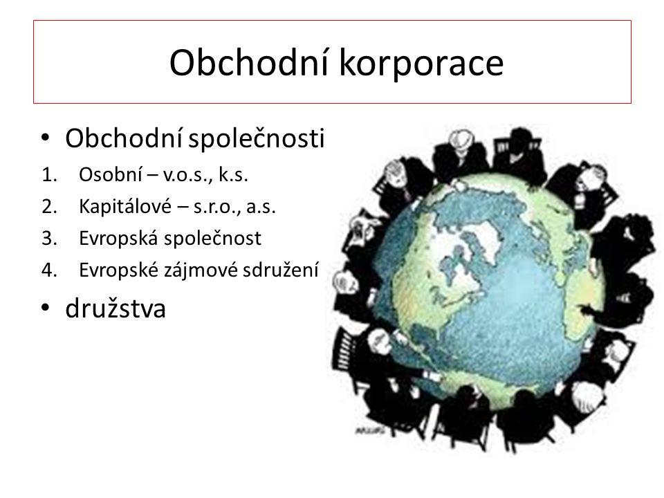 Obchodní korporace Obchodní společnosti 1.Osobní – v.o.s., k.s.