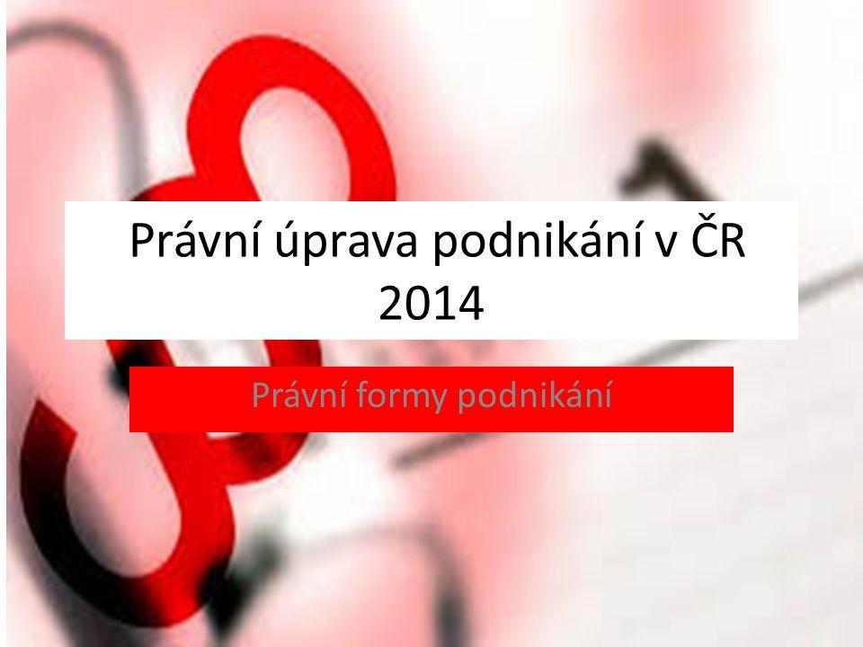 Právní úprava podnikání v ČR 2014 Právní formy podnikání