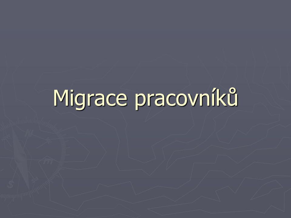 Migrační politika ► EU Dvě oblasti: - volný pohyb obyvatel a pracovních sil mezi členskými státy EU - Imigrační pohyb obyvatel a pracovních sil z tzv.