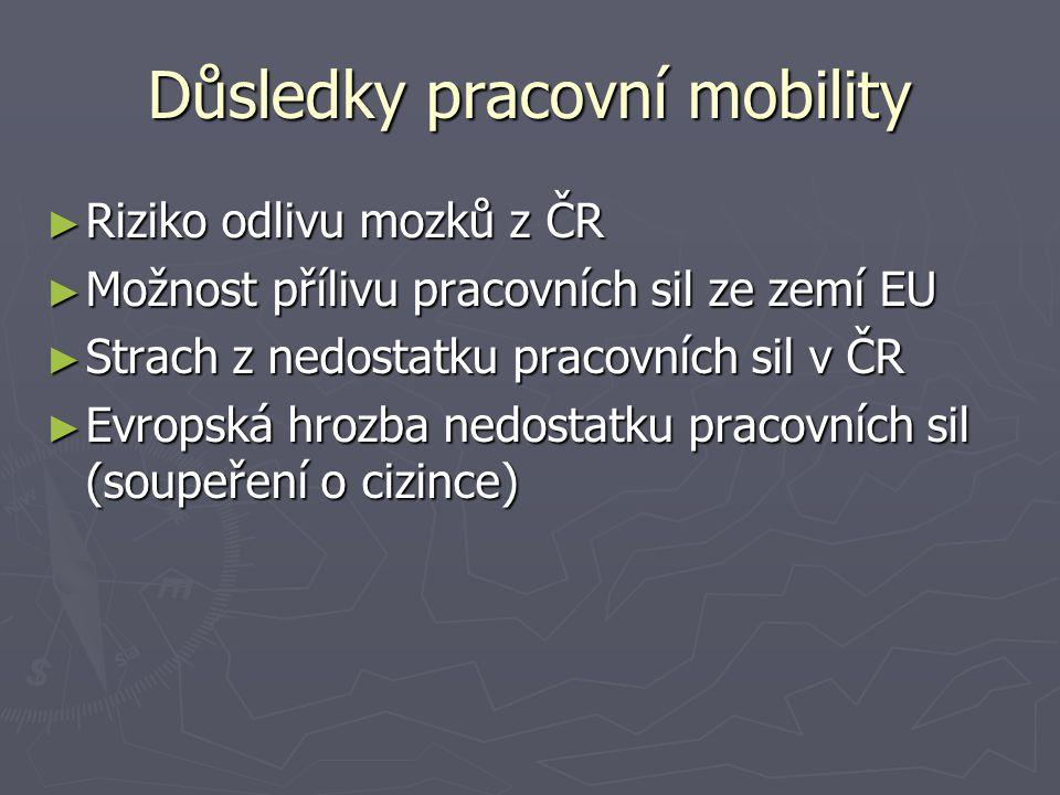 Důsledky pracovní mobility ► Riziko odlivu mozků z ČR ► Možnost přílivu pracovních sil ze zemí EU ► Strach z nedostatku pracovních sil v ČR ► Evropská