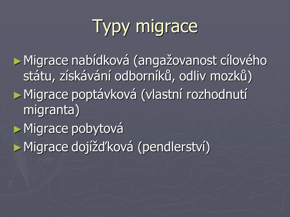 Typy migrace ► Migrace nabídková (angažovanost cílového státu, získávání odborníků, odliv mozků) ► Migrace poptávková (vlastní rozhodnutí migranta) ►