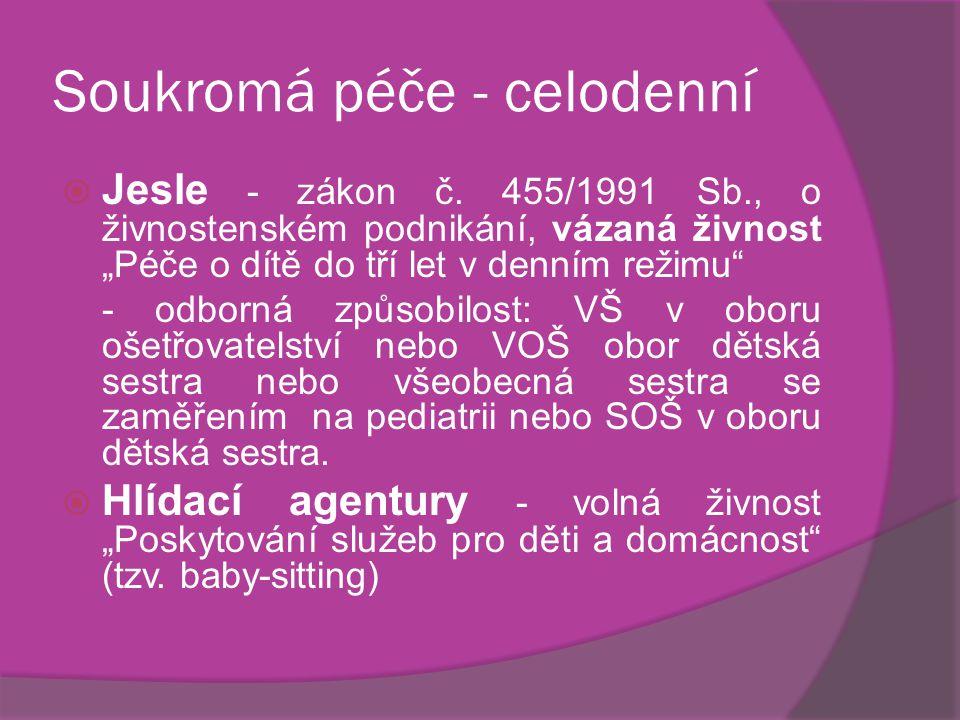"""Soukromá péče - celodenní  Jesle - zákon č. 455/1991 Sb., o živnostenském podnikání, vázaná živnost """"Péče o dítě do tří let v denním režimu"""" - odborn"""