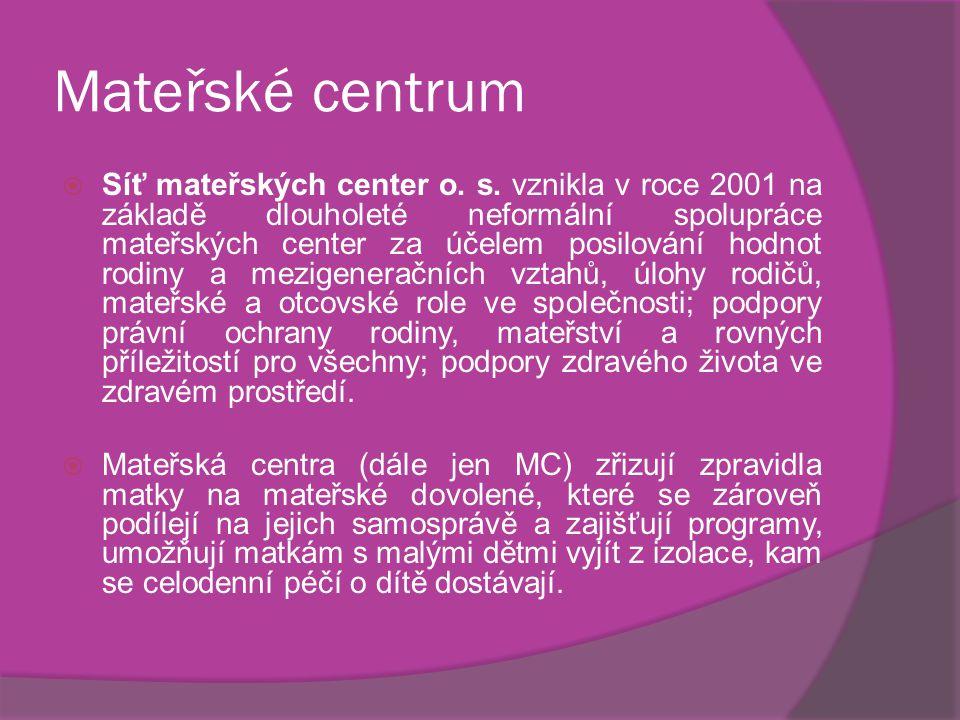 Mateřské centrum  Síť mateřských center o. s. vznikla v roce 2001 na základě dlouholeté neformální spolupráce mateřských center za účelem posilování