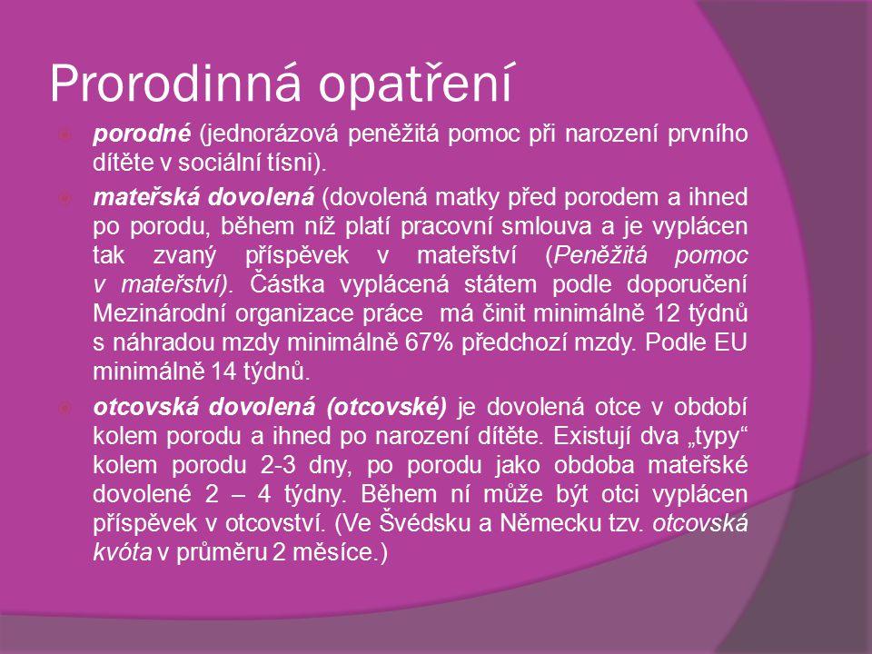 Prorodinná opatření  porodné (jednorázová peněžitá pomoc při narození prvního dítěte v sociální tísni).  mateřská dovolená (dovolená matky před poro