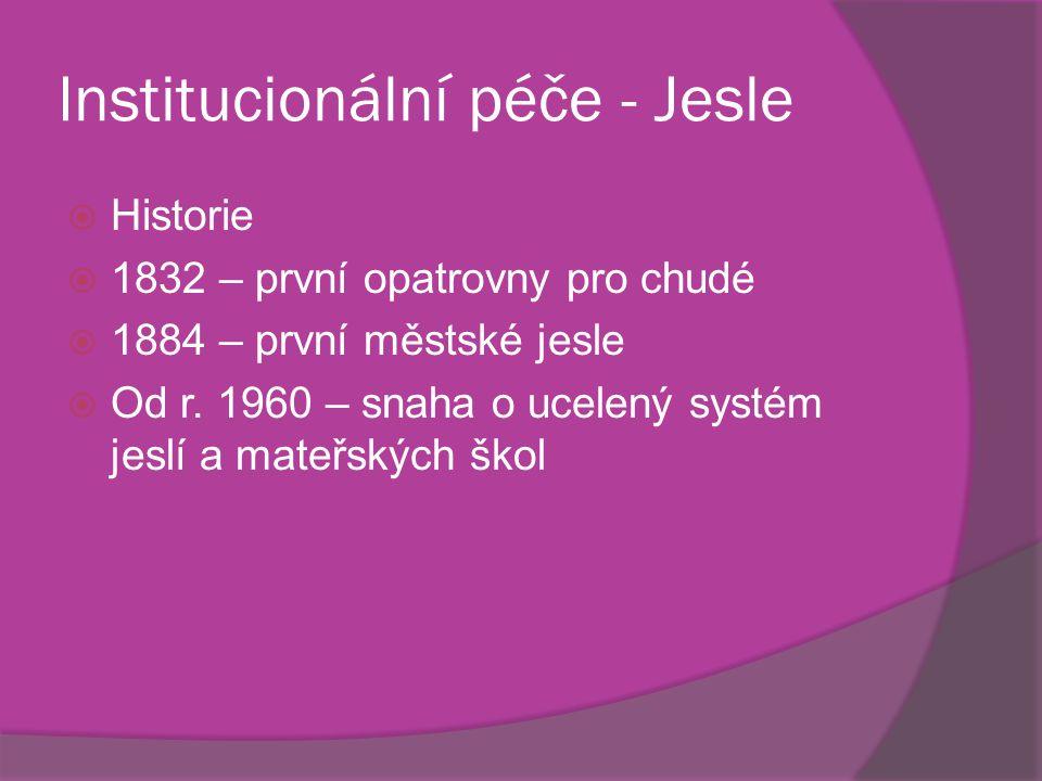 Institucionální péče - Jesle  Historie  1832 – první opatrovny pro chudé  1884 – první městské jesle  Od r. 1960 – snaha o ucelený systém jeslí a