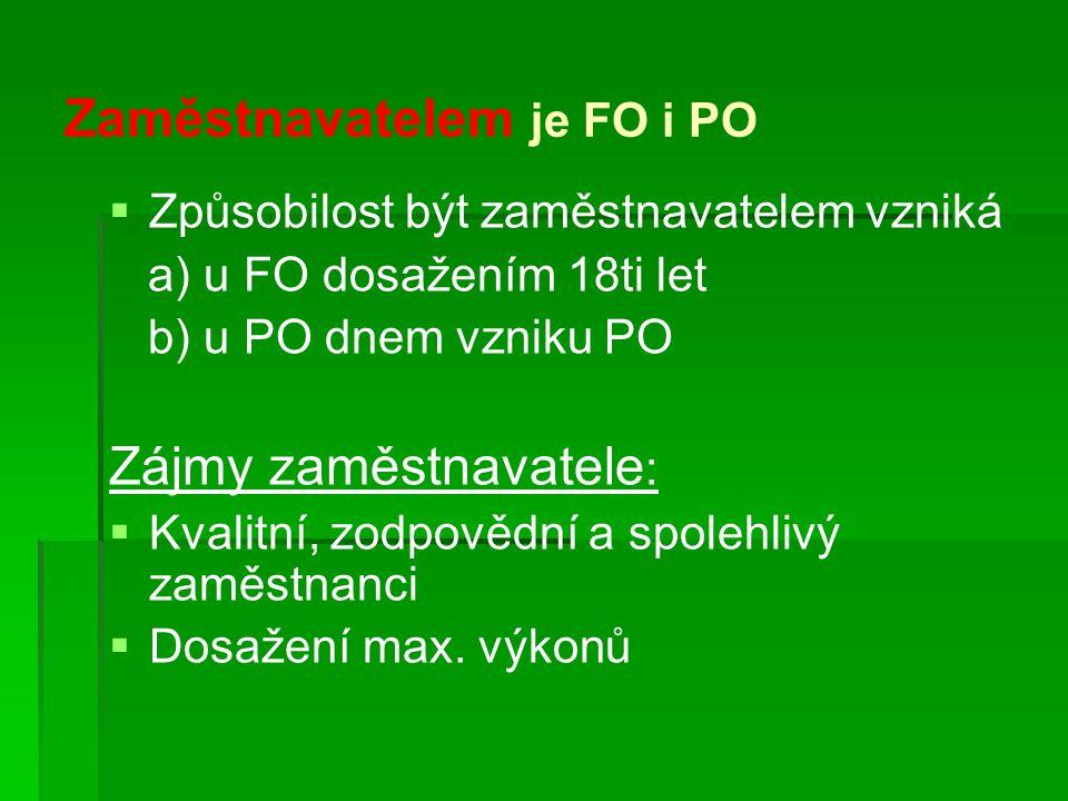 Zaměstnavatelem je FO i PO   Způsobilost být zaměstnavatelem vzniká a) u FO dosažením 18ti let b) u PO dnem vzniku PO Zájmy zaměstnavatele :   Kvalitní, zodpovědní a spolehlivý zaměstnanci   Dosažení max.