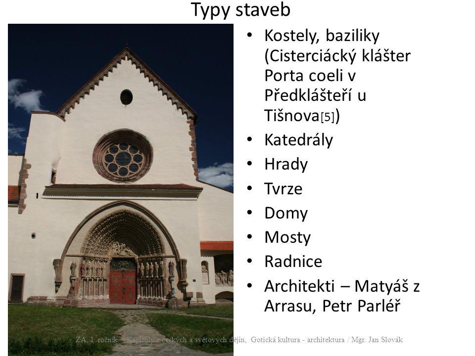 Typy staveb Kostely, baziliky (Cisterciácký klášter Porta coeli v Předklášteří u Tišnova [5] ) Katedrály Hrady Tvrze Domy Mosty Radnice Architekti – M
