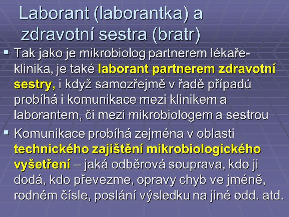 Laborant (laborantka) a zdravotní sestra (bratr)  Tak jako je mikrobiolog partnerem lékaře- klinika, je také laborant partnerem zdravotní sestry, i k