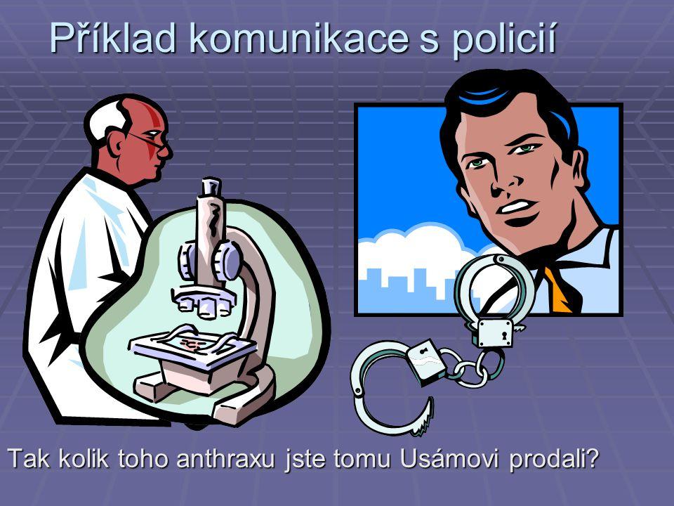 Příklad komunikace s policií Tak kolik toho anthraxu jste tomu Usámovi prodali?