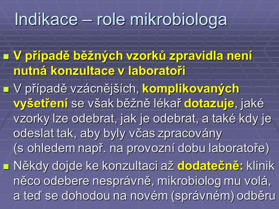 Indikace – role mikrobiologa V případě běžných vzorků zpravidla není nutná konzultace v laboratoři V případě běžných vzorků zpravidla není nutná konzu