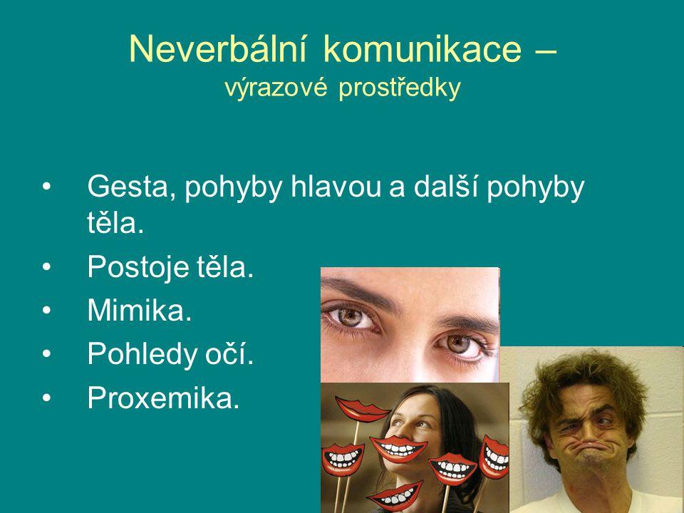 Neverbální komunikace – výrazové prostředky Gesta, pohyby hlavou a další pohyby těla. Postoje těla. Mimika. Pohledy očí. Proxemika.