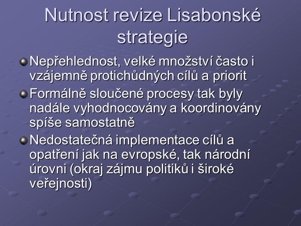 Nutnost revize Lisabonské strategie Nepřehlednost, velké množství často i vzájemně protichůdných cílů a priorit Formálně sloučené procesy tak byly nadále vyhodnocovány a koordinovány spíše samostatně Nedostatečná implementace cílů a opatření jak na evropské, tak národní úrovni (okraj zájmu politiků i široké veřejnosti)