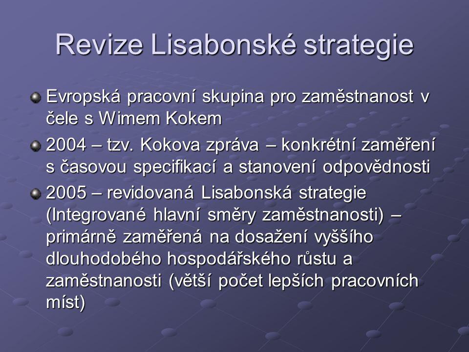 Revize Lisabonské strategie Evropská pracovní skupina pro zaměstnanost v čele s Wimem Kokem 2004 – tzv.