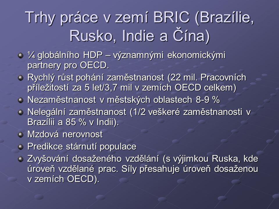 Trhy práce v zemí BRIC (Brazílie, Rusko, Indie a Čína) ¼ globálního HDP – významnými ekonomickými partnery pro OECD.
