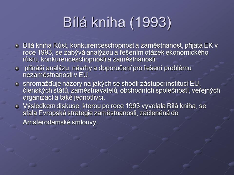 Bílá kniha (1993) Bílá kniha Růst, konkurenceschopnost a zaměstnanost, přijatá EK v roce 1993, se zabývá analýzou a řešením otázek ekonomického růstu, konkurenceschopnosti a zaměstnanosti.