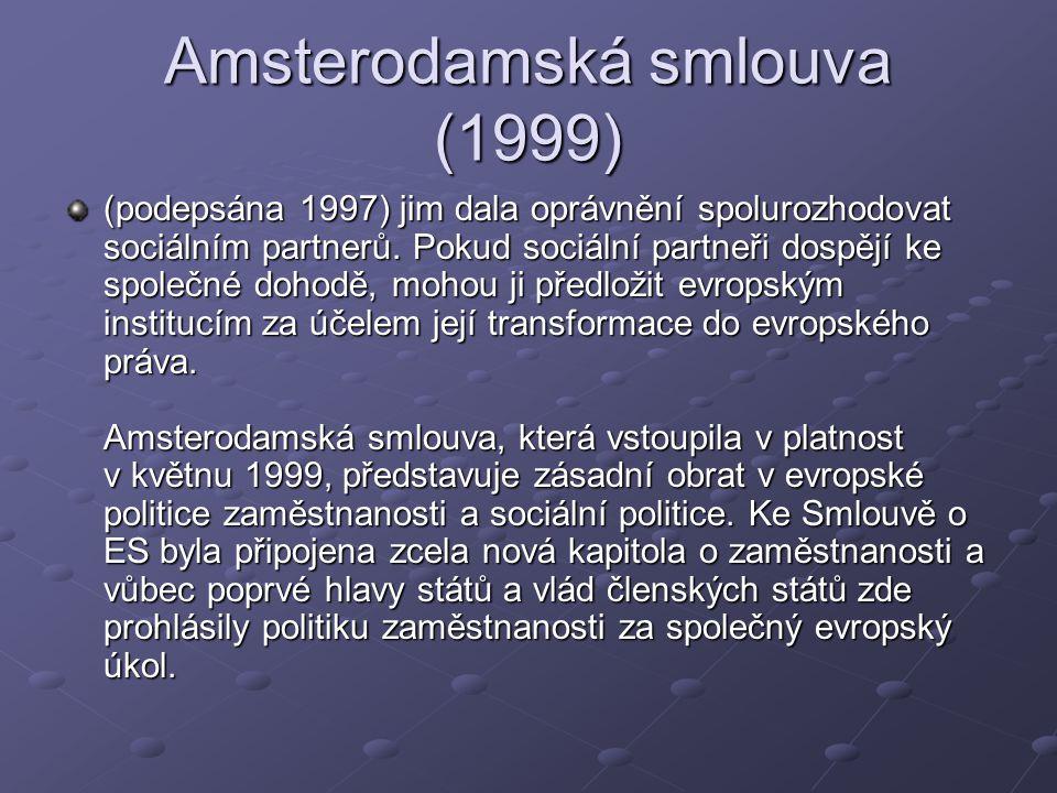 Amsterodamská smlouva (1999) (podepsána 1997) jim dala oprávnění spolurozhodovat sociálním partnerů.