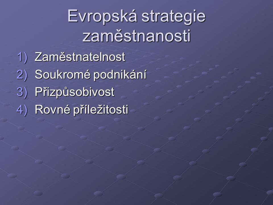 Evropská strategie zaměstnanosti 1)Zaměstnatelnost 2)Soukromé podnikání 3)Přizpůsobivost 4)Rovné příležitosti