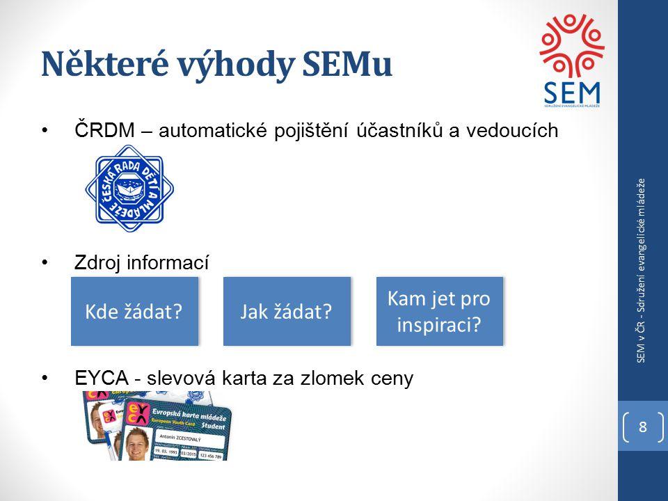 Některé výhody SEMu 8 SEM v ČR - Sdružení evangelické mládeže ČRDM – automatické pojištění účastníků a vedoucích Zdroj informací EYCA - slevová karta za zlomek ceny Kde žádat.