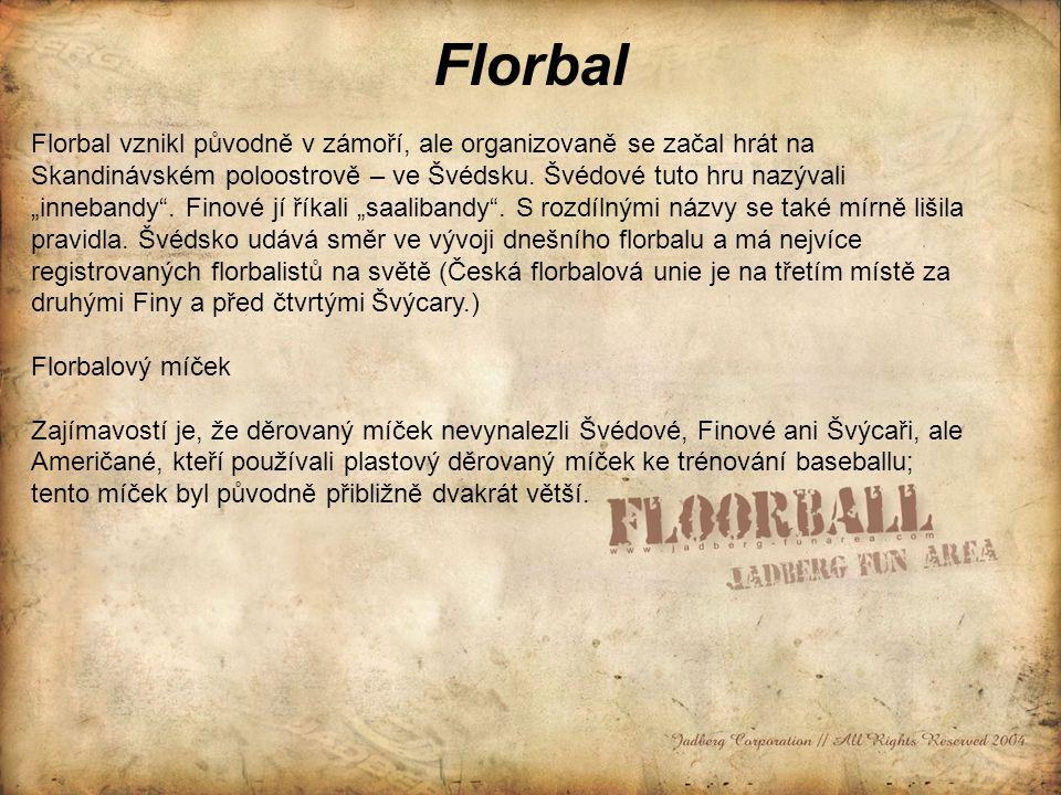 Florbal Florbal vznikl původně v zámoří, ale organizovaně se začal hrát na Skandinávském poloostrově – ve Švédsku.