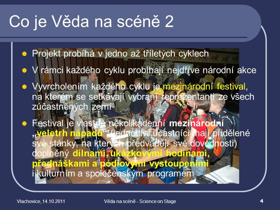 Vlachovice, 14.10.2011Věda na scéně - Science on Stage 4 Co je Věda na scéně 2 Projekt probíhá v jedno až tříletých cyklech V rámci každého cyklu prob